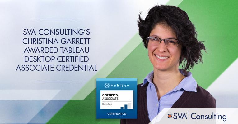 sva consulting's garrett awarded tableau desktop certified associate credential credential